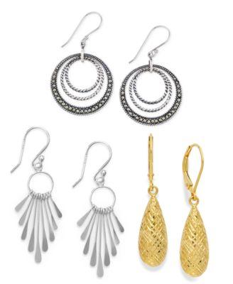 18k Gold over Sterling Silver Earrings, Diamond-Cut Teardrop Leverback Earrings