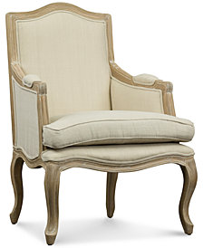 Kempler Wood Traditional French Accent Chair, Quick Ship