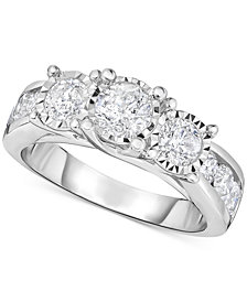 TruMiracle® Diamond Three-Stone Engagement Ring (2 ct. t.w.) in 14k White Gold