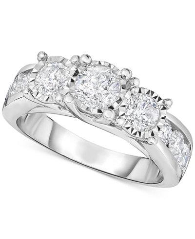 trumiracle diamond three stone engagement ring 2 ct tw in 14k - Macys Wedding Rings
