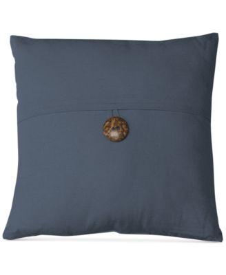 """Essex Button Flap Linen Blend 18"""" Square Decorative Pillow"""