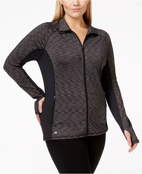 Ideology Plus Size Front-Zip Space-Dyed Active Jacket, Created for Macy's