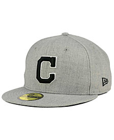 New Era Cleveland Indians Heather Black White 59FIFTY Fitted Cap