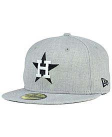 Houston Astros Heather Black White 59FIFTY Fitted Cap