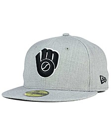 Milwaukee Brewers Heather Black White 59FIFTY Fitted Cap