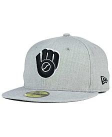 New Era Milwaukee Brewers Heather Black White 59FIFTY Fitted Cap