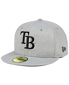 Tampa Bay Rays Heather Black White 59FIFTY Fitted Cap