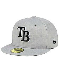 New Era Tampa Bay Rays Heather Black White 59FIFTY Fitted Cap
