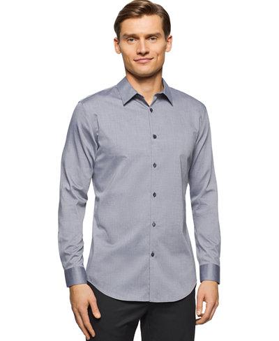 Calvin Klein Brunswick Slim-Fit Long-Sleeve Shirt - Casual Button ...