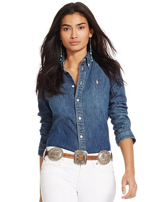 Polo Ralph Lauren Slim-Fit Denim Shirt - Tops - Women - Macy's