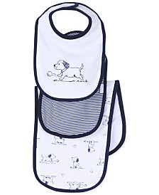Little Me Baby Boys 3-Piece Puppy Toile Bib and Burp Cloth Set