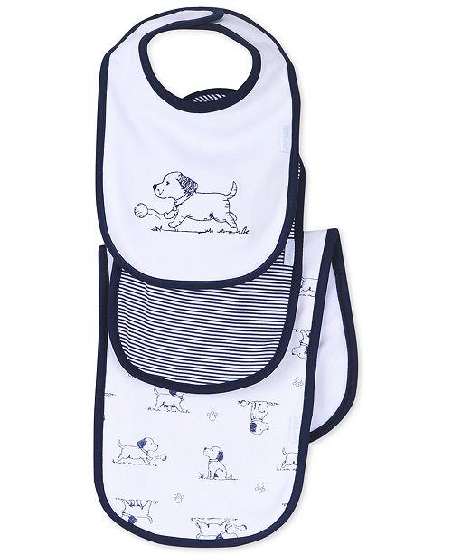 Little Me Baby Boys 3-Piece Puppy Toile Bib and Burp Cloth Set