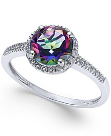 Mystic Topaz (1-1/2 ct. t.w.) and Diamond (1/8 ct. t.w.) Ring in 14k White Gold