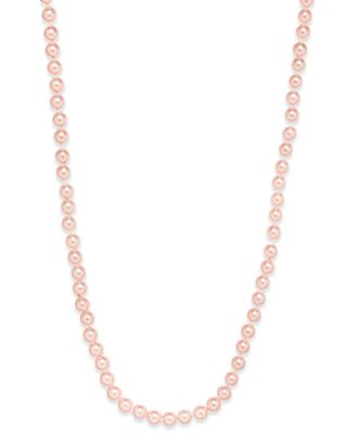 Silver-Tone Pink Imitation Pearl (8mm) Strand Necklace, Created for Macy's