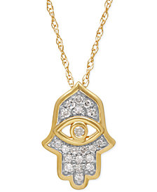 Diamond Hamsa Pendant Necklace (1/10 ct. t.w.) in 10k Gold
