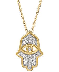 Diamond Hamsa Pendant Necklace (1/10 ct. t.w.) in 10k Gold