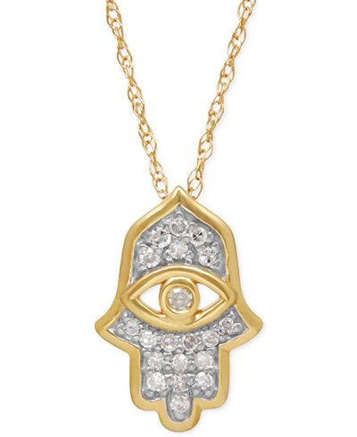 Diamond hamsa pendant necklace 110 ct tw in 10k gold diamond hamsa pendant necklace 110 ct tw in 10k gold aloadofball Gallery