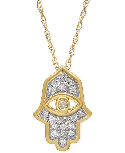 Macys diamond hamsa pendant necklace 110 ct tw in 10k gold main image mozeypictures
