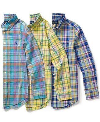 Ralph Lauren Little Boys' Plaid Oxford Button-Down Shirt - Shirts ...