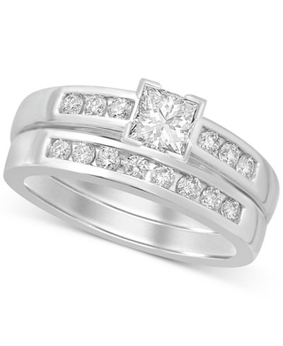 Diamond Princess-Cut Bridal Set (9/10 ct. t.w.) in 14k White Gold