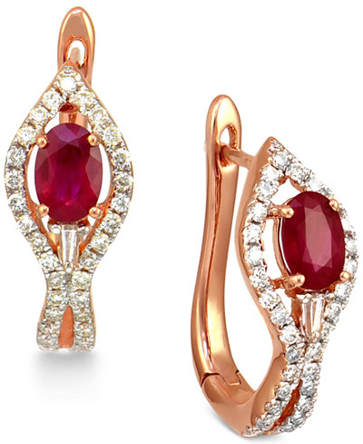 Ruby (1 ct. t.w.) and Diamond (1/2 ct. t.w.) Hoop Earrings in 14k Rose Gold