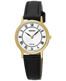 Seiko Women's Solar Dress Black Leather Strap Watch 26mm SUP304
