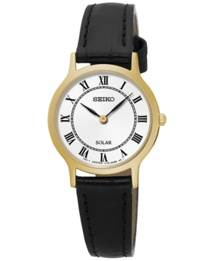 Seiko Women's Solar Dress Black Leather Strap Watch 26mm SUP
