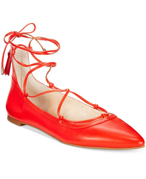 INC International Concepts I.N.C. Zadde Lace-Up Pointed-Toe Flats, Created for Macy's