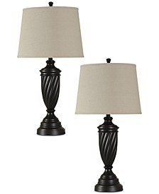 Set of 2 Bronze-Tone Table Lamps