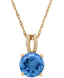 Blue Topaz (3-3/8 ct. t.w.) and Diamond (1/8 ct. t.w.) Pendant Necklace in 14k Rose Gold