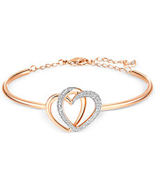 Swarovski Rose Gold-Tone Crystal Pavé Interlocking Double Heart Bangle Bracelet
