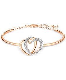Swarovski Rose Gold-Tone Crystal Pavé Interlocking Double Heart Bangle Bracelet