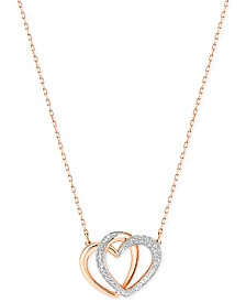 Swarovski Rose Gold-Tone Crystal Pavé Interlocking Double Heart Pendant Necklace