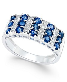 Sapphire (1-1/2 ct. t.w.) and Diamond (1/5 ct. t.w.) Statement Ring in 14k White Gold