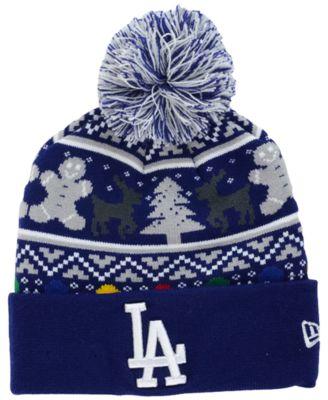 New Era Los Angeles Dodgers Christmas Sweater Pom Knit Hat ...