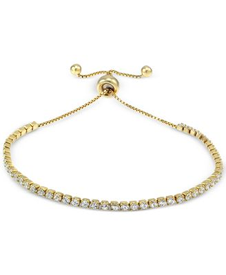 18K Gold over Sterling Silver with CZ Twist Accent Bracelet mDViP