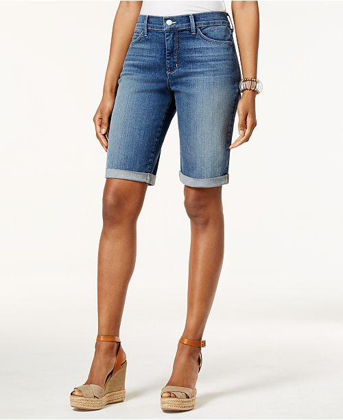NYDJ Briella Tummy-Control Cuffed Denim Bermuda Shorts