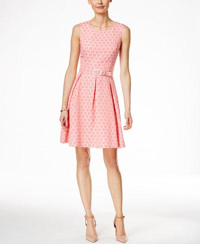 Nine West Belted Fit Amp Flare Jacquard Dress Dresses