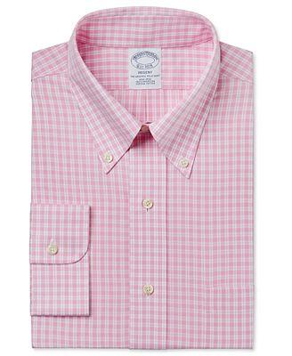 Brooks Brothers Men's Regent Classic-Fit Non-Iron Pink Plaid Dress ...