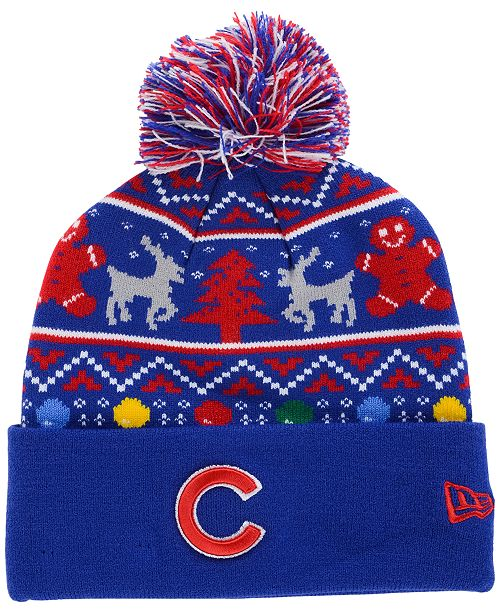 New Era Chicago Cubs Christmas Sweater Pom Knit Hat - Sports Fan ... 4a9f22adfdc
