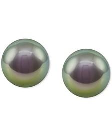 Sterling Silver Organic Man-made Gray Pearl Stud Earrings (8mm)