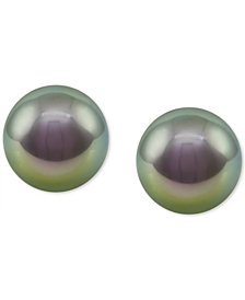 Majorica Sterling Silver Organic Man-made Gray Pearl Stud Earrings (8mm)
