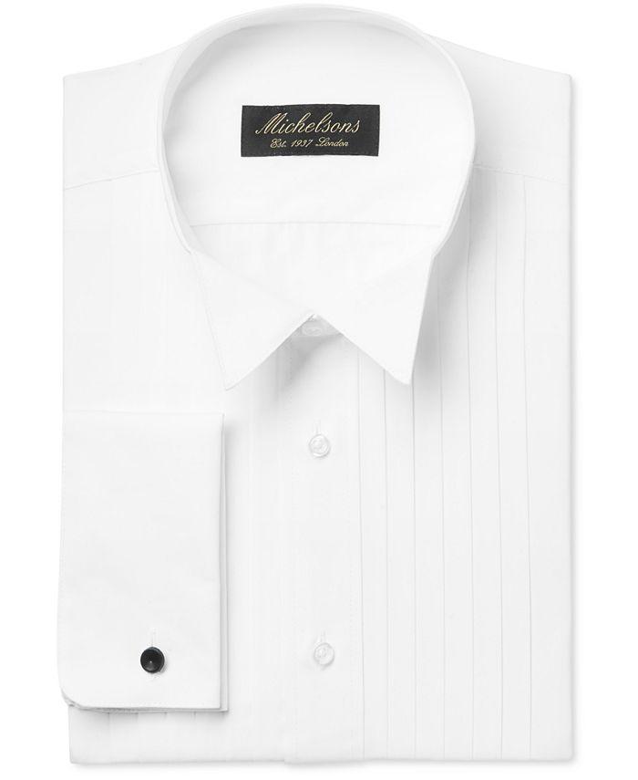 Michelsons - Dress Shirt, Pleated Point Boxed Tuxedo Long Sleeve Shirt