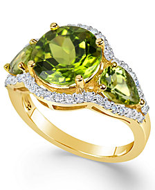 Peridot (4-3/8 ct. t.w.) and Diamond (3/8 ct. t.w.) Three-Stone Ring in 14k Gold
