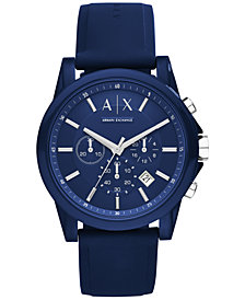 A|X Armani Exchange Unisex Chronograph Blue Silicone Strap Watch 44mm AX1327