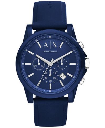 A|X Armani Exchange Unisex Chronograph Blue Silicone Strap Watch 44mm AX1327