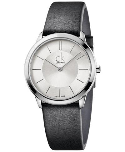Calvin Klein minimal Unisex Swiss Minimal Black Leather Strap Watch 35mm K3M221C6