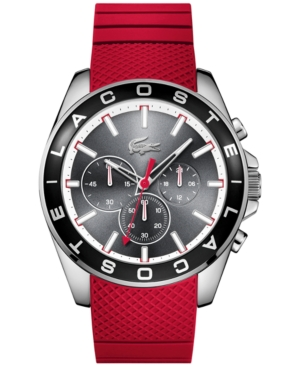Lacoste Men's Chronograph Westport Red Silicone Strap Watch 45mm 2010853