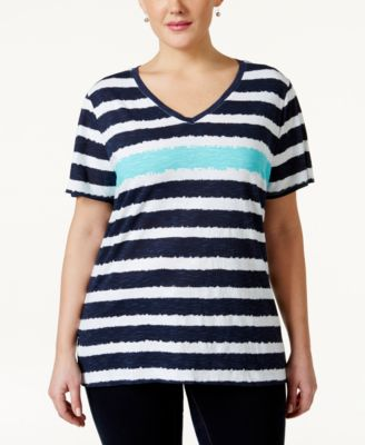 Style & Co Sport Plus Short-Sleeve Striped Tee Created for Macys