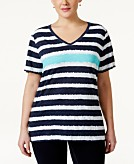 Style & Co Sport Plus Short-Sleeve Striped Tee Created for Macys
